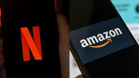 Logos de Netflix y Amazon   Getty Images